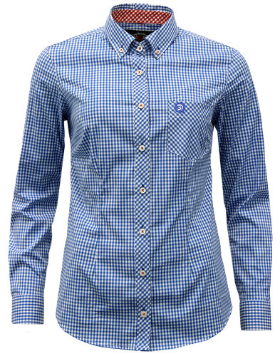 trojan records womens retro mod gingham shirt blue