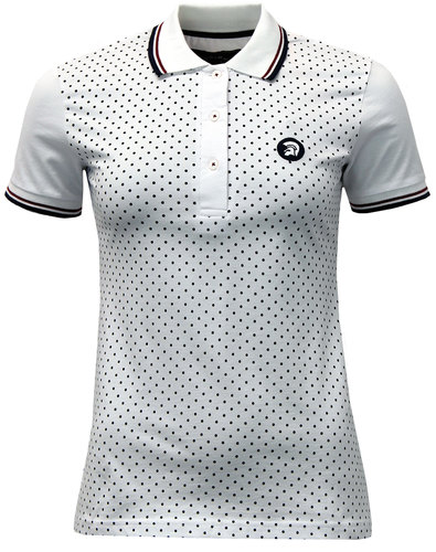 trojan womens retro 60s mod polka dot polo shirt