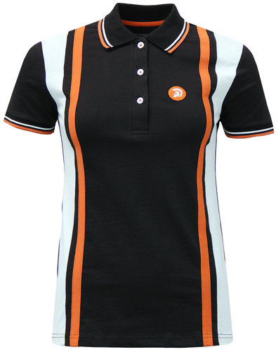 trojan womens retro mod stripe panel polo top