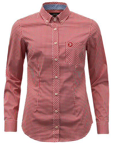 trojan records womens retro mod gingham shirt red