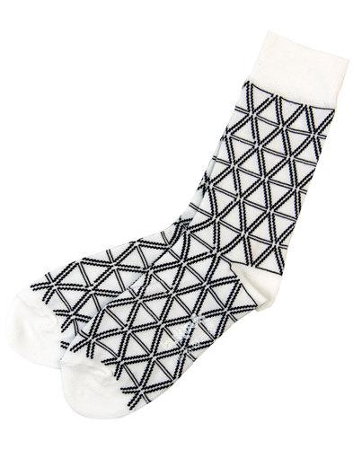 tuktuk bloedel retro mod geo triangle socks white