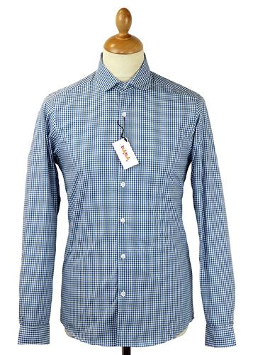 TUKTUK RETRO MOD PENNY COLLAR GINGHAM SHIRT BLUE