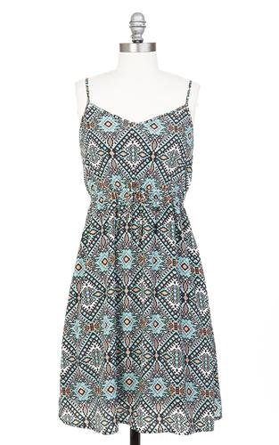 TULLE RETRO 60s BOHO RETRO TRIBAL PRINT DRESS