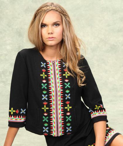 TULLE RETRO 60S BOHO EMBROIDERED CROPPED JACKET