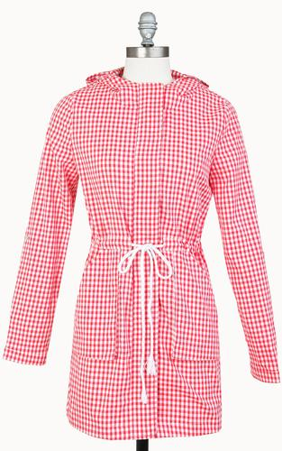TULLE WOMENS RETRO 60s MOD GINGHAM CHECK JACKET