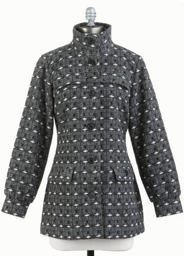 TULLE Women's Retro 60s Mod Standing Collar Jacket