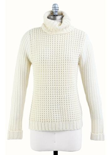TULLE RETRO MOD WOMENS CHUNKY KNIT ROLLNECK JUMPER