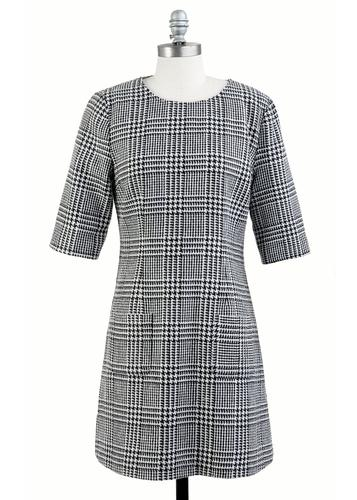 TULLE RETRO MOD 60S TARTAN CHECK WOOL DRESS