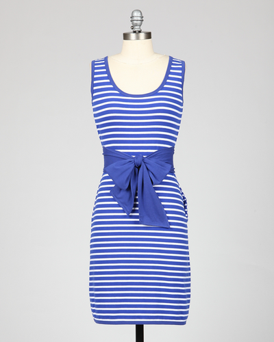 TULLE RETRO MOD 60s NAUTICAL STRIPE DRESS BLUE
