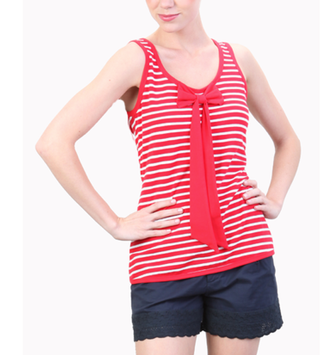 TULLE RETRO MOD 60s NAUTICAL STRIPE BOW TOP