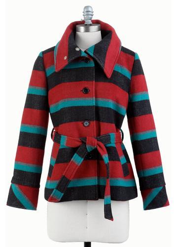 TULLE Women's Retro 70s Striped Funnel Collar Coat