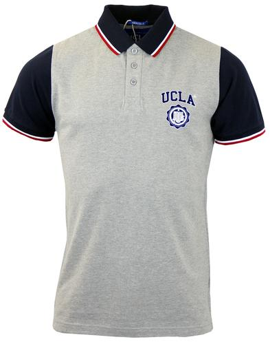 Galt UCLA Retro Contrast Collar Pique Polo Top (G)