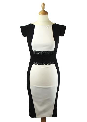VESPER DRESS ROBYN BLACK WHITE MOD RETRO DRESS