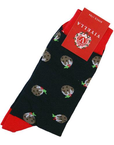 viyella retro 1970s christmas pudding socks navy