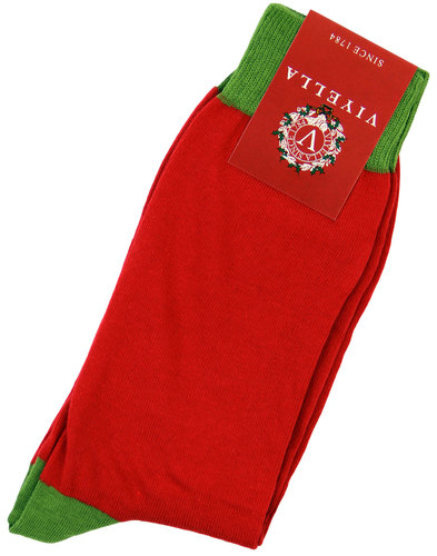 viyella retro 1970s block colour socks red green