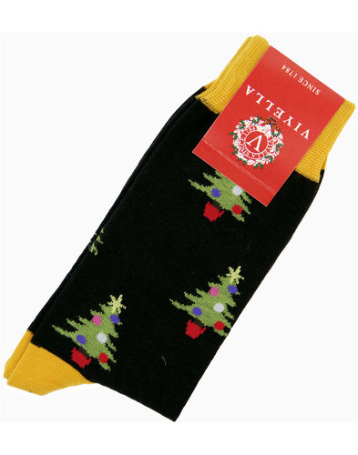 viyella retro 1970s christmas tree socks black