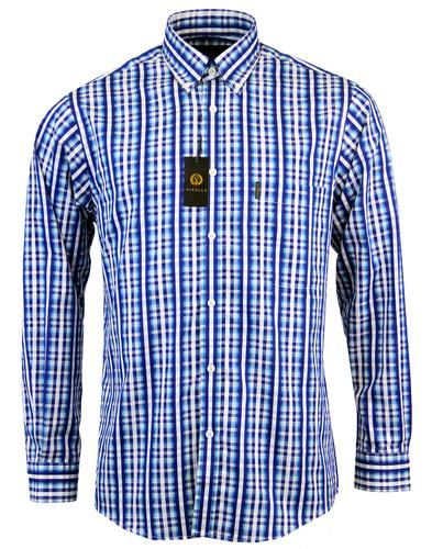 viyella retro 60s mod dobby stripe on check shirt