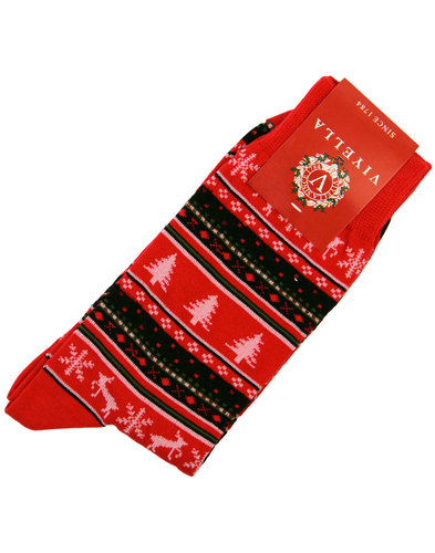 viyella retro 1970s fair isle christmas socks red
