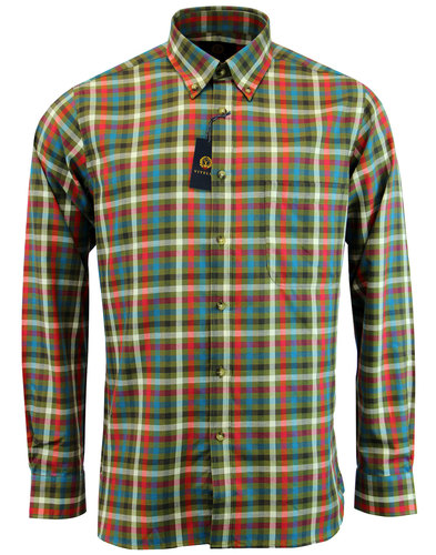 viyella retro 1960s mod country check shirt green