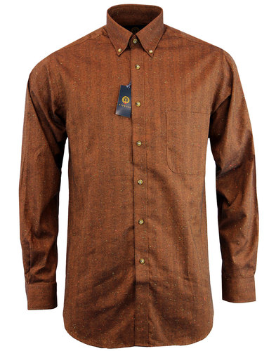 viyella retro mod herringbone donegal shirt brown