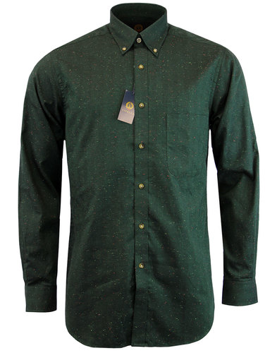 viyella retro mod herringbone donegal shirt green