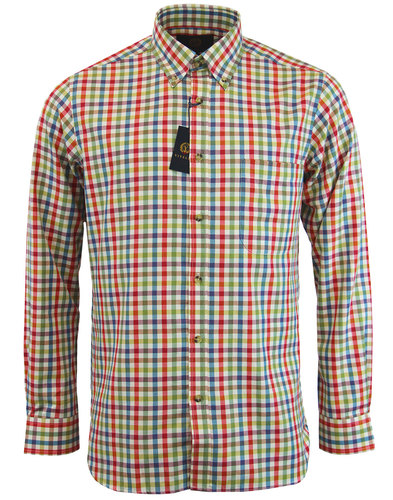 viyella retro mod herringbone gingham check shirt