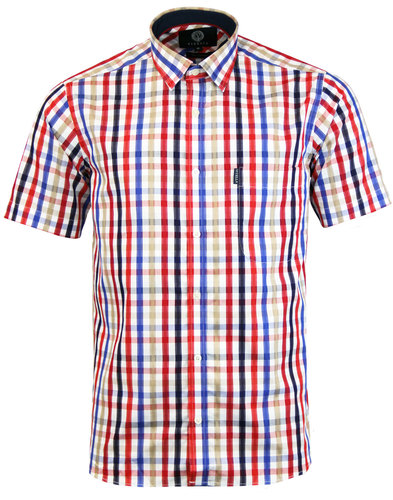 VIYELLA Retro Mod Satin Check Short Sleeve Shirt