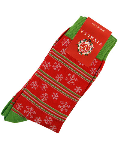 viyella retro 1970s snowflake christmas socks red