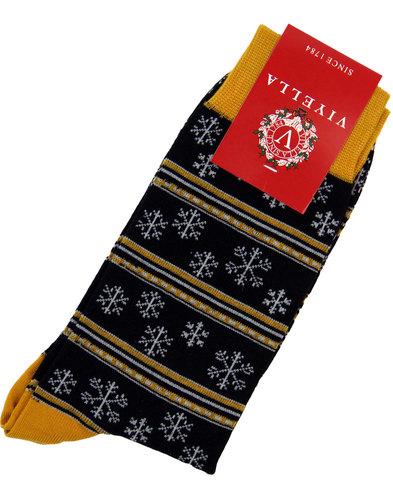 viyella retro 70s fair isle christmas socks black