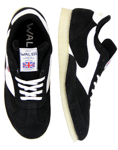 walsh invade retro suede crepe sole trainers black