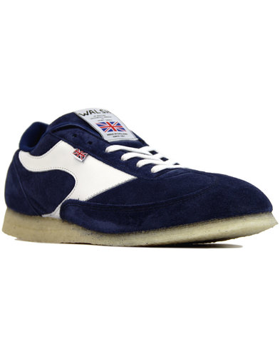 walsh invade retro suede crepe sole trainers navy