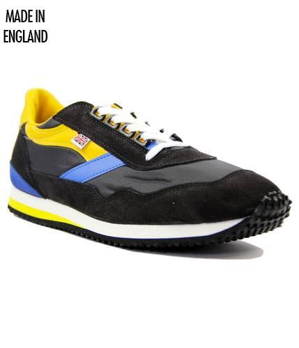NORMAN WALSH BLACK BLUE YELLOW RETRO TRAINERS