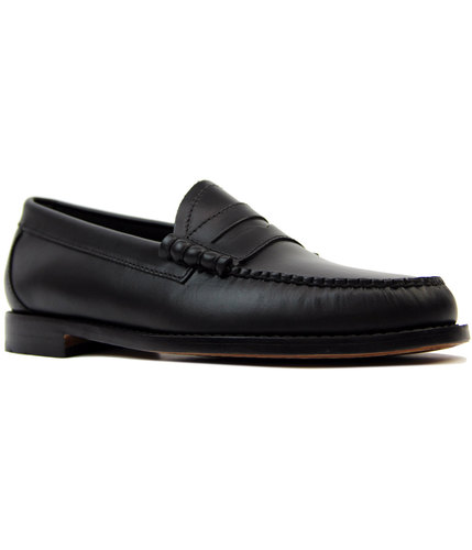 bass weejuns larson 60s mod pull up loafers black