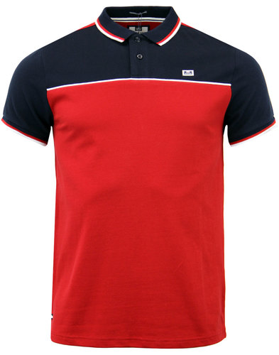 weekend offender batt retro 80s mod panel polo red