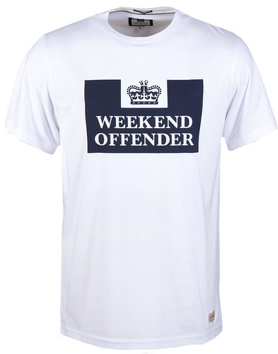 Prison Tee WEEKEND OFFENDER Mod Casuals Tee White