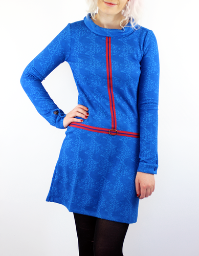 WHOS THAT GIRL DIGGER MOD 60S RETRO DRESS BLUE