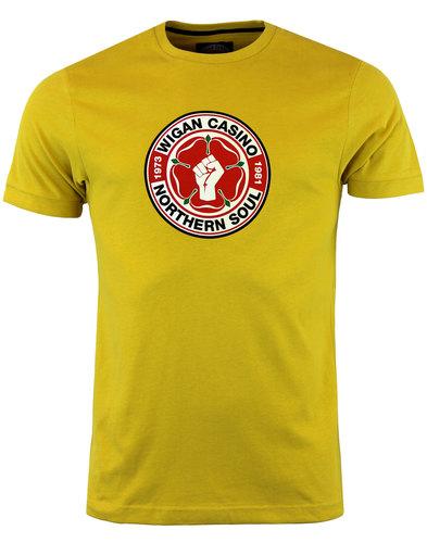 wigan casino northern soul mod big logo tee gold