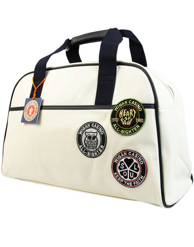 wigan casino northern soul mod bowling bag ecru