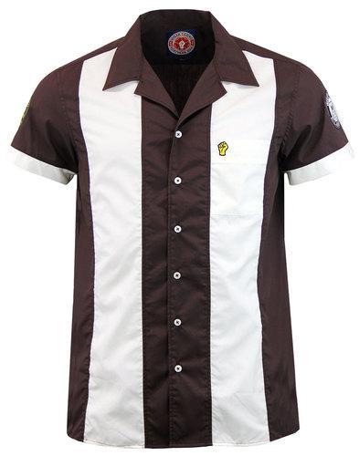 WIGAN CASINO Northern Soul Bowling Shirt BROWN
