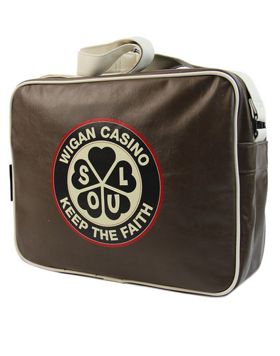 wigan casino northern soul mod shoulder bag brown
