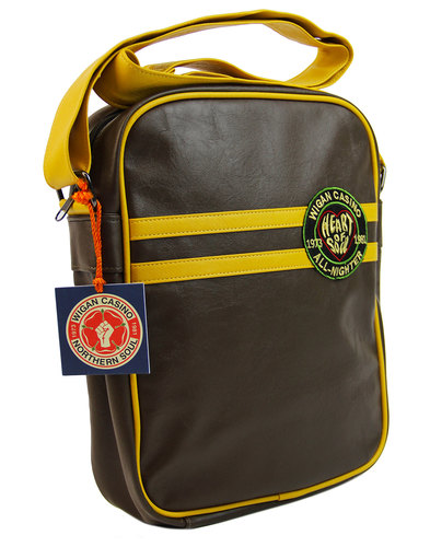 wigan casino northern soul mod flight bag in brown