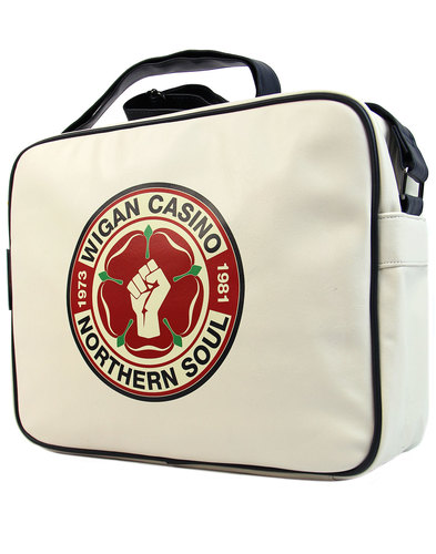 wigan casino northern soul mod shoulder bag ecru