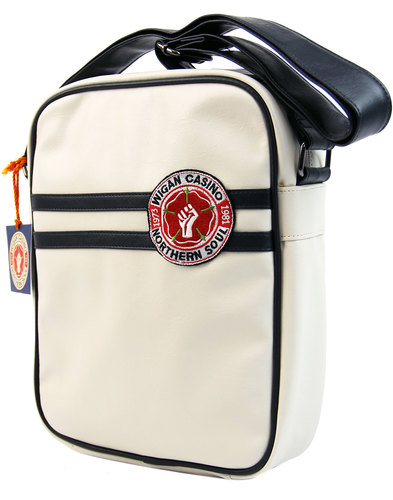 wigan casino northern soul retro flight bag ecru