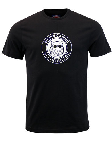 wigan casino night owl northern soul mod tee black