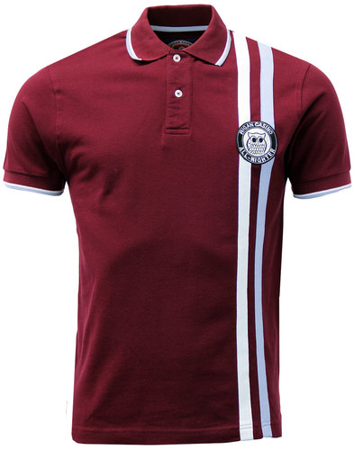 wigan casino northern soul racing stripe polo wine