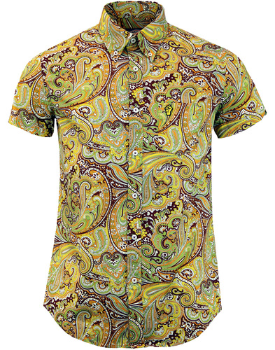 wigan casino paisley shirt brown