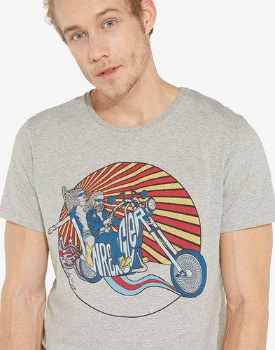 Luke WRANGLER Men's Retro 70s Biker Print Tee Grey