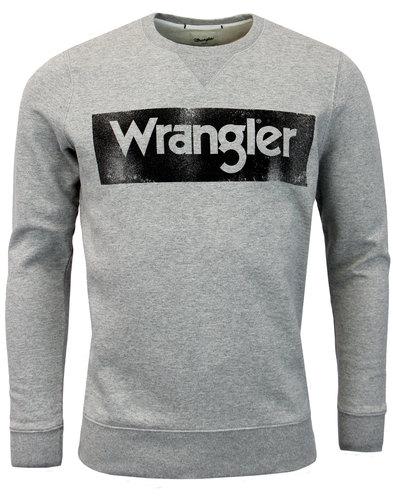 WRANGLER Retro 1970s Vintage Logo Sweatshirt GREY