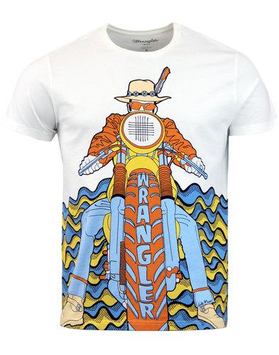 wrangler luke retro psychedelic 70s biker t-shirt
