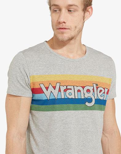 WRANGLER Men's Retro 70s Rainbow Logo T-Shirt Grey